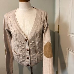 Tan elbow patch cable knit cardigan sweater preppy